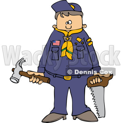 400x400 Cartoon Of An Outlined Scout Boy Holding Tools