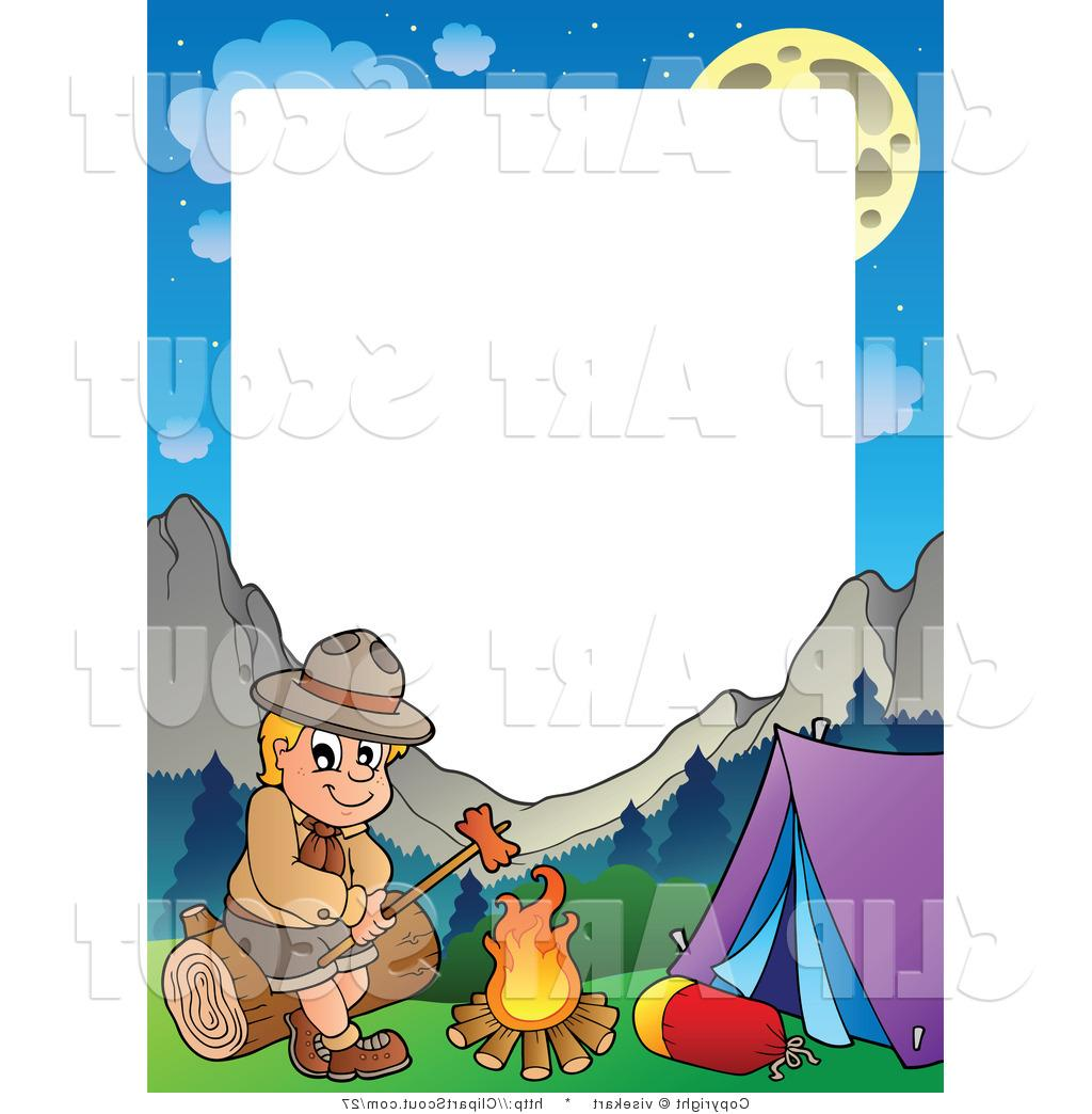 1024x1044 Hd Camping Clipart Vector Of Boy Scout Roasting Hot Dog Frame By