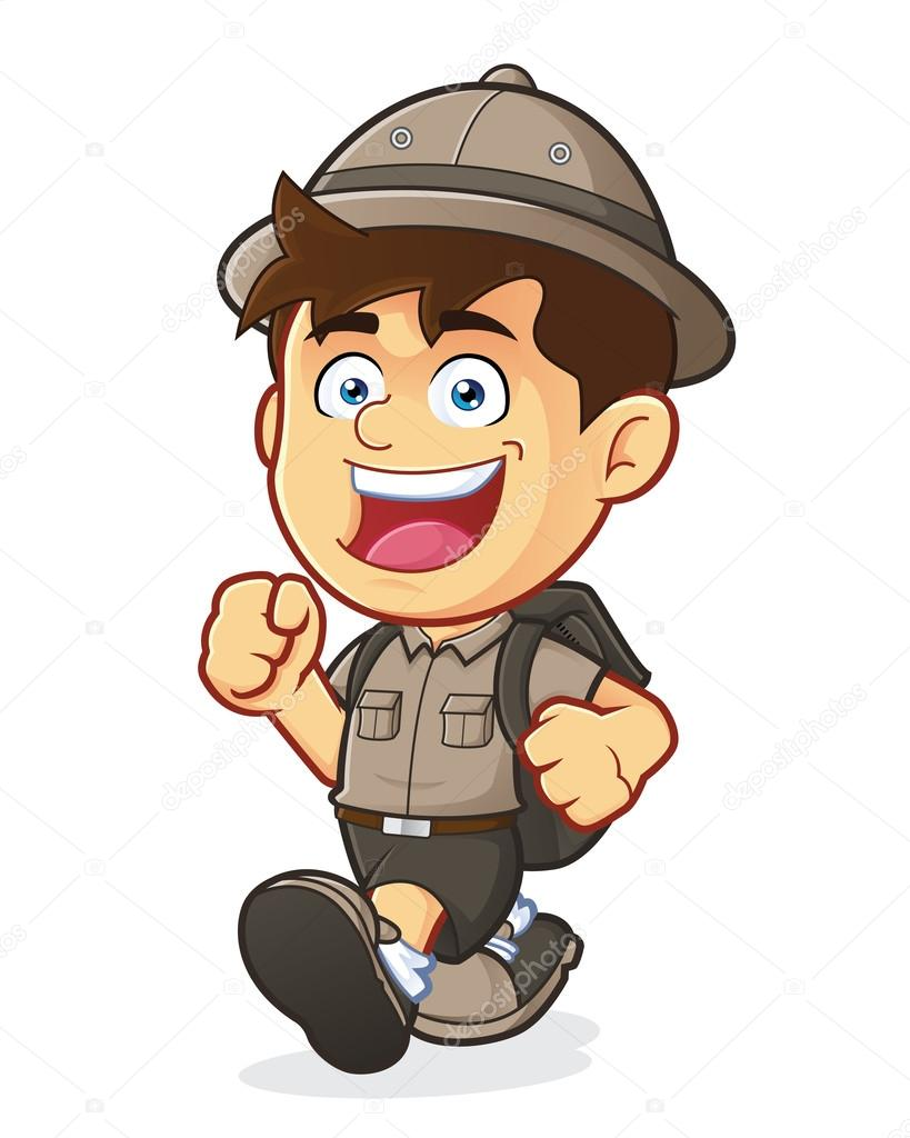 819x1024 Boy Scout Or Explorer Boy Walking Stock Vector Sundatoon