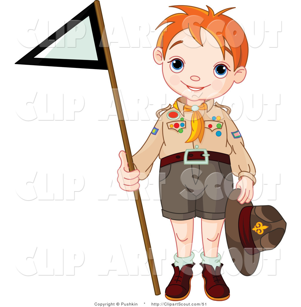 1024x1044 Clipart Of A Scout Boy Holding Up A Triangular Flag By Pushkin
