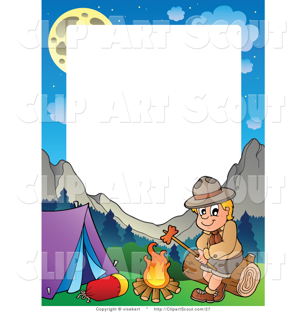 1024x1044 Vector Clipart Of A Camping Boy Scout Roasting A Hot Dog Frame By