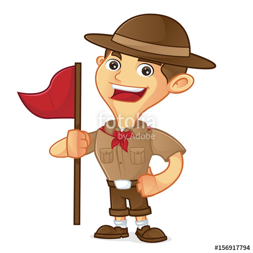 500x500 Boy Scout Cartoon Holding Flag Stock Image And Royalty Free