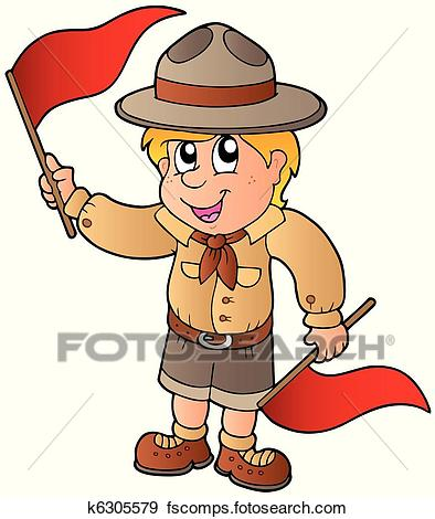 394x470 Clip Art Of Scout Boy Giving Flag Signal K6305579
