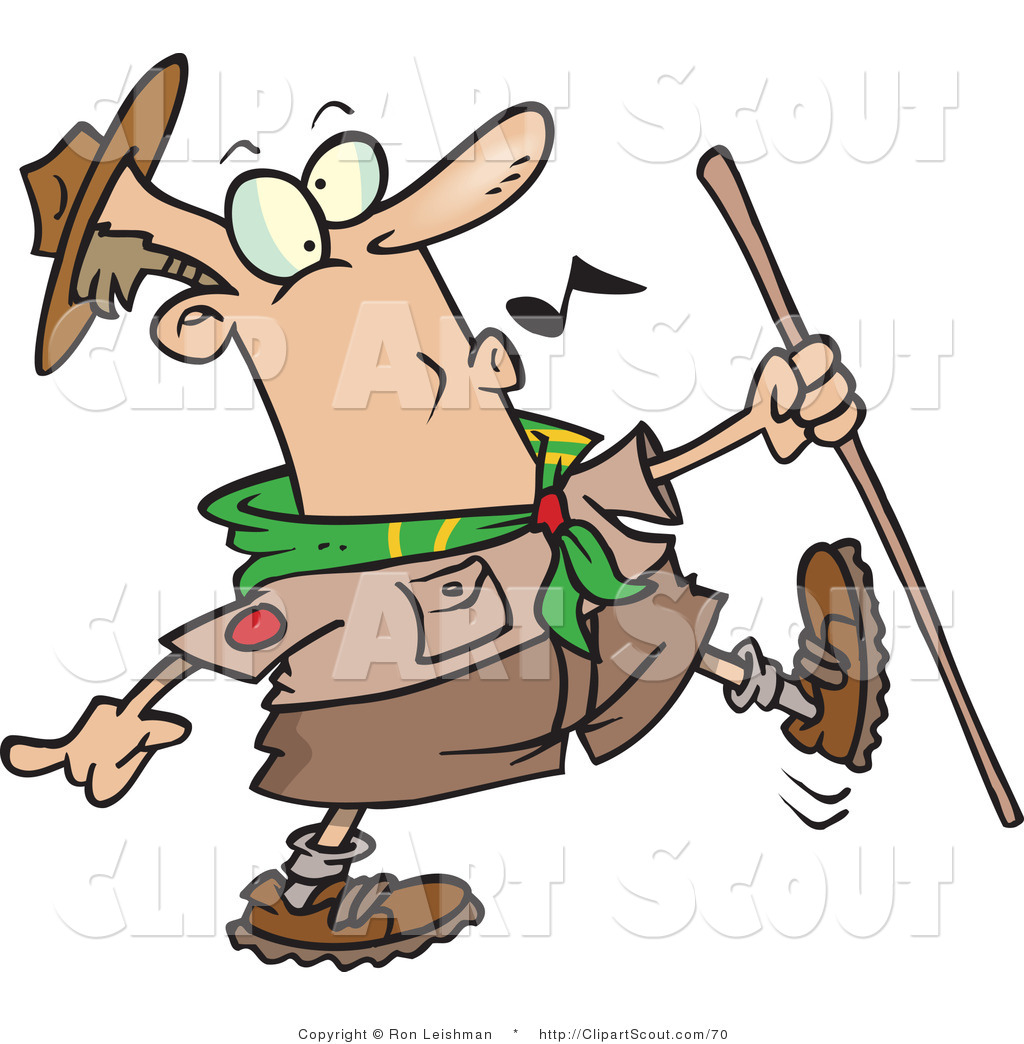 1024x1044 Clipart Of A Whistling Scout Master Hiking By Toonaday