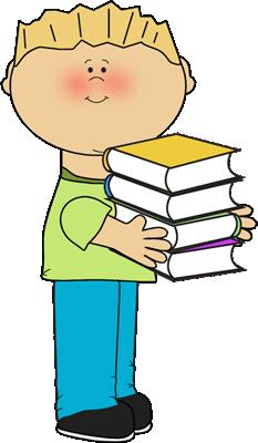 233x400 Boy Carrying School Books Clip Art