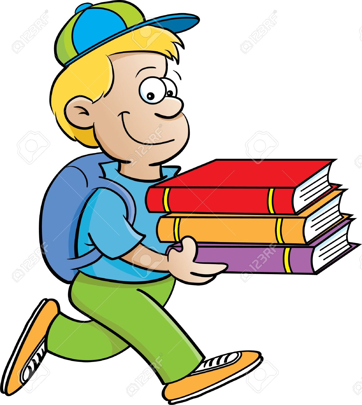 1164x1300 Cartoon Illustration Of A Boy Carrying Books On A White Background