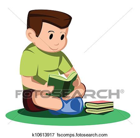 450x443 Clip Art Of Boy Read Book K10613917