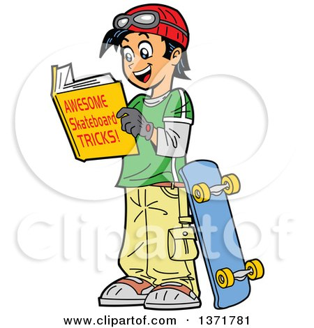 450x470 Clipart Of A Happy Teenage Asian Boy Reading A Book About