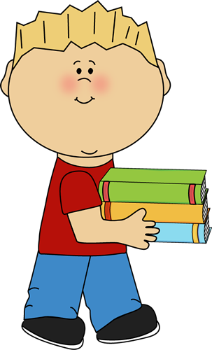 303x500 Little Boy Carrying A Stack Of Books Clip Art