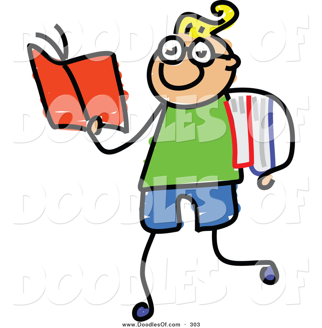 1024x1044 Vector Clipart Of A Childs Sketch Of Happy Smart Boy Walking
