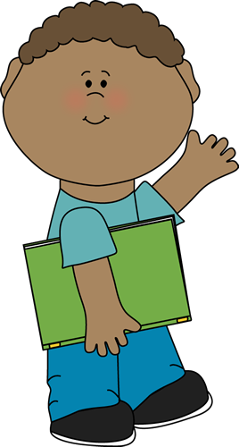 268x500 Boy Carrying Book And Waving Clip Art