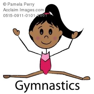 300x300 Clip Art Illustration Of A Stick Girl Gymnast