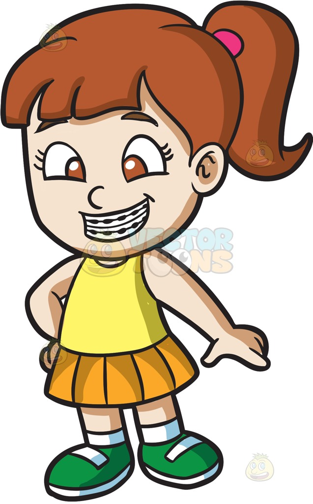 637x1024 A Happy Girl With Braces Cartoon Clipart