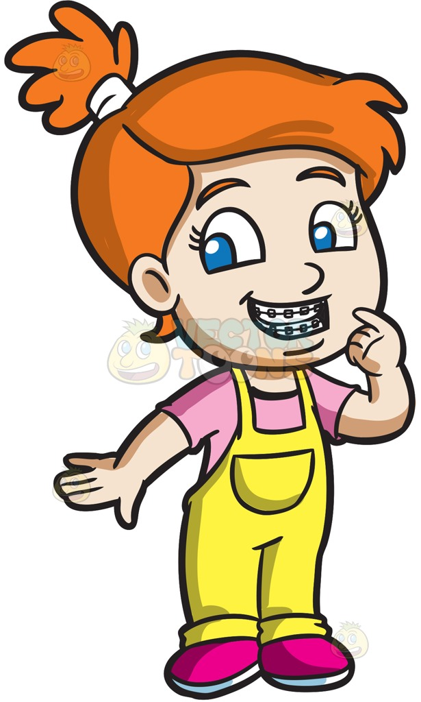 615x1024 A Proud Girl Showing Her New Braces Cartoon Clipart