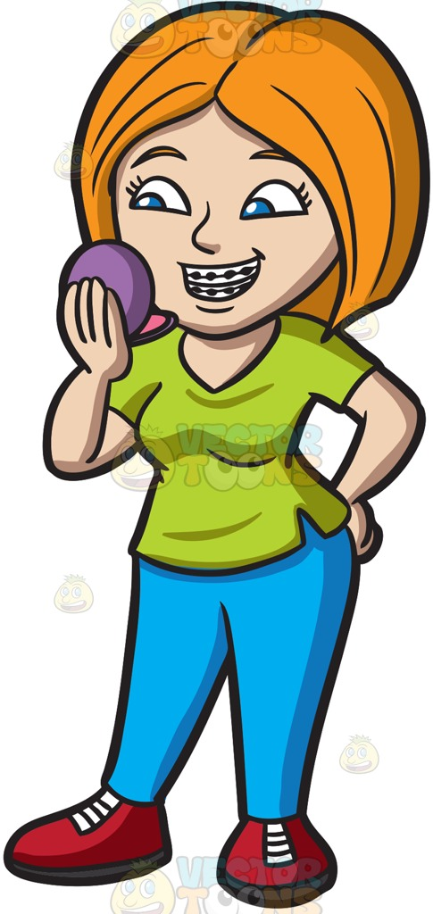 485x1024 A Woman Smiles To Check Her Braces Cartoon Clipart