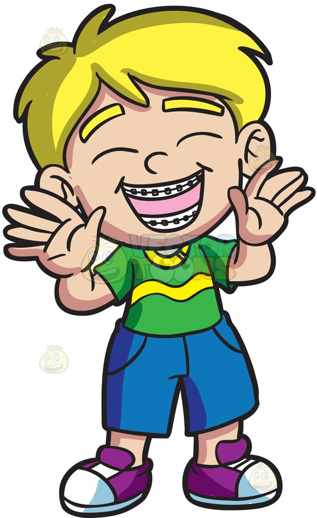 628x1024 An Ecstatic Boy With Braces Cartoon Clipart