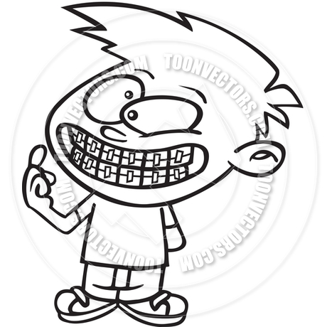 460x460 Cartoon Boy Braces (Black And White Line Art) By Ron Leishman