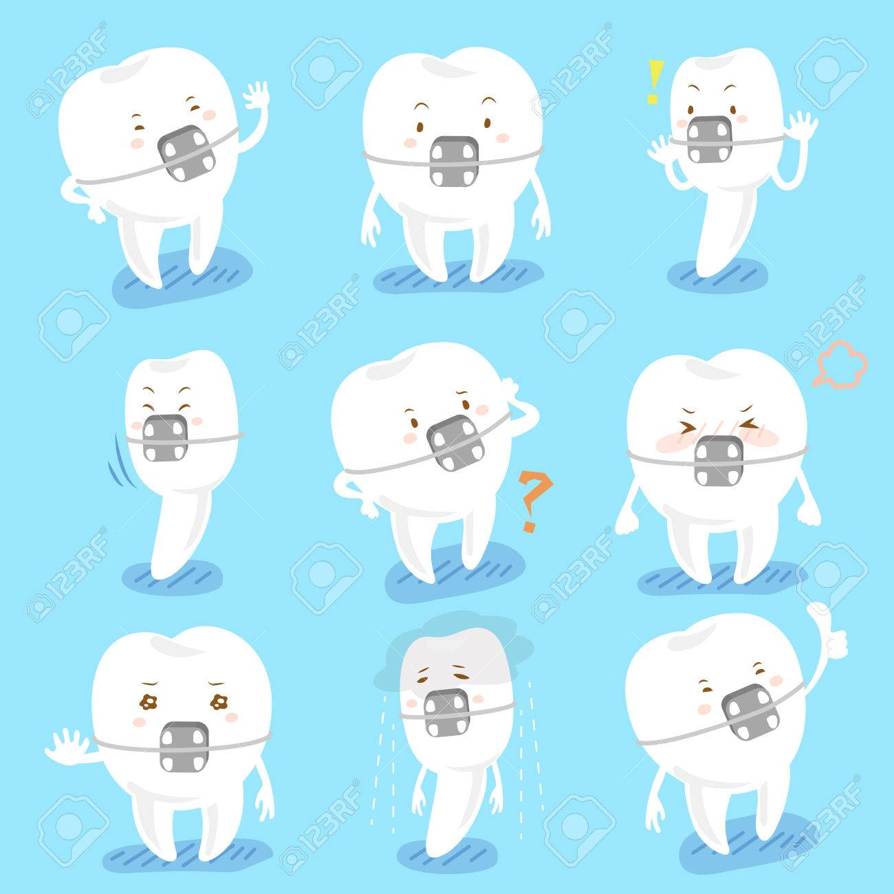 1300x1300 Cartoon Tooth Wear Brace Express All Kinds Of Emotions Royalty