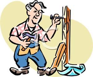 300x248 Colorful Cartoon Of A Carpenter Building A Brace