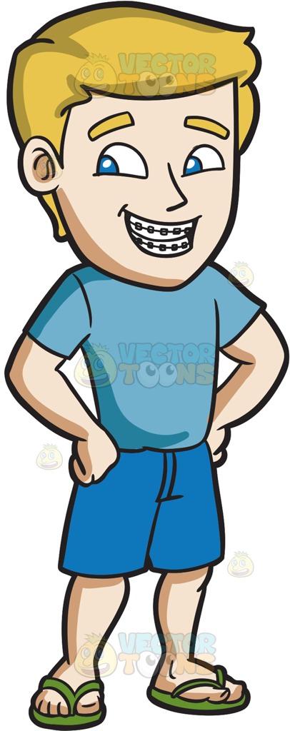 406x1024 A Confident Man With Braces Cartoon Clipart
