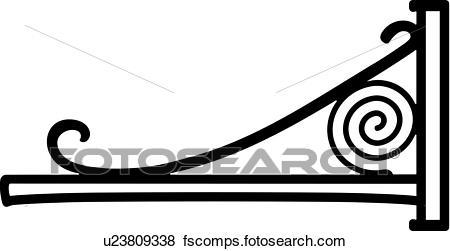 450x251 Clip Art Of , Border, Bracket, Corner, Iron, Scroll, U23809338