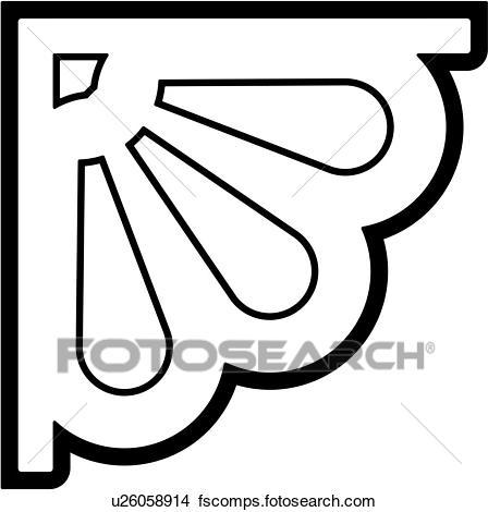 448x470 Clipart Of , Border, Bracket, Corner, Fan, Shell, U26058914