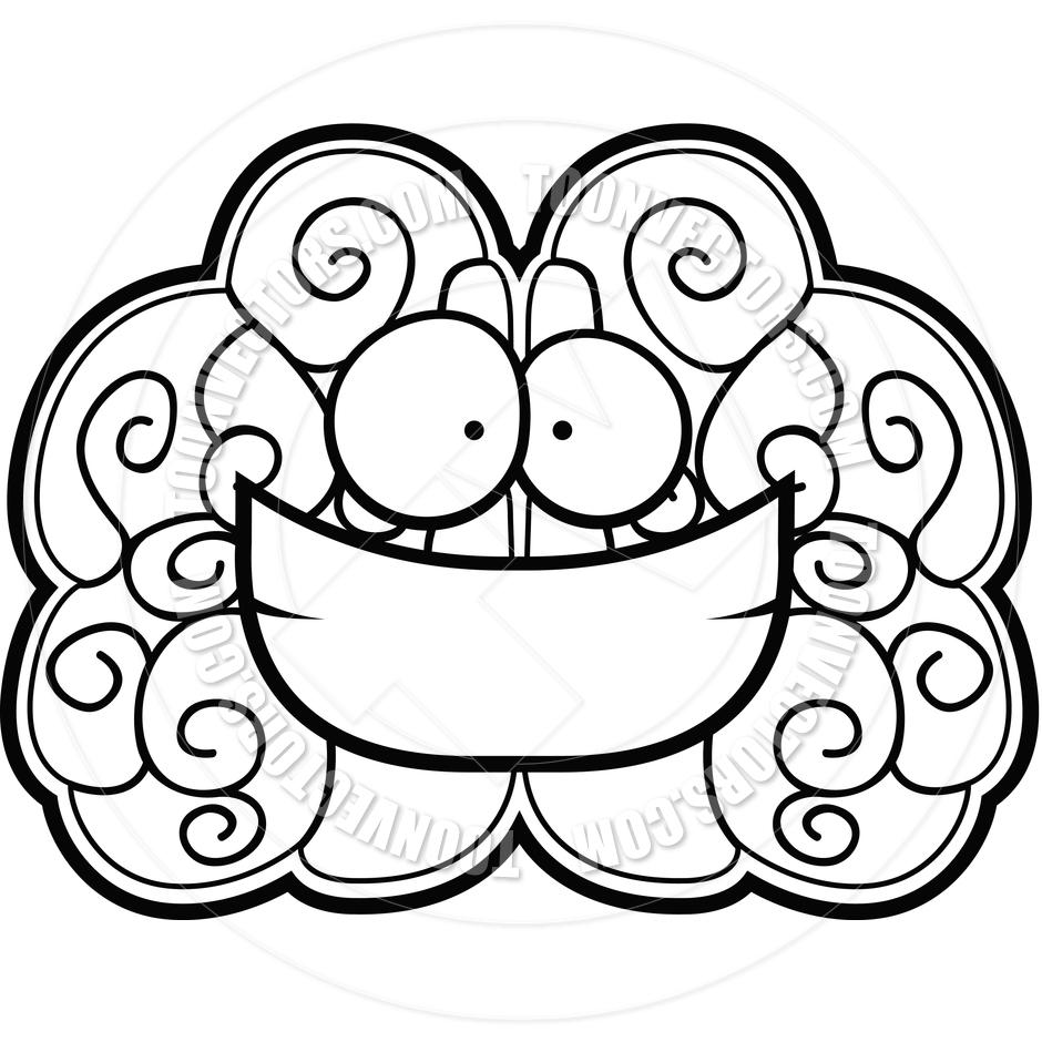 940x940 Brain Smiling (Black And White Line Art) By Cory Thoman Toon