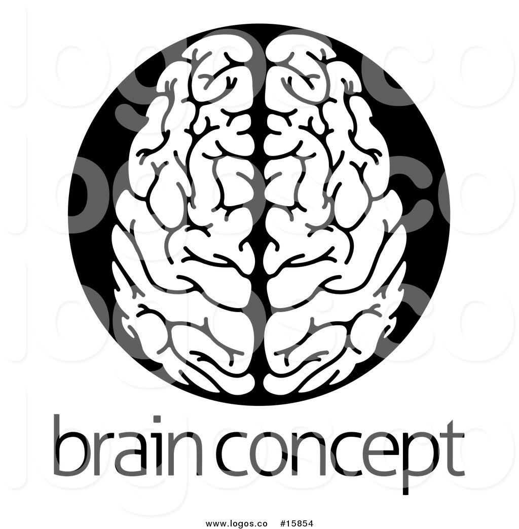 1024x1044 Royalty Free Vector Logo Of A White Human Brain Within A Black