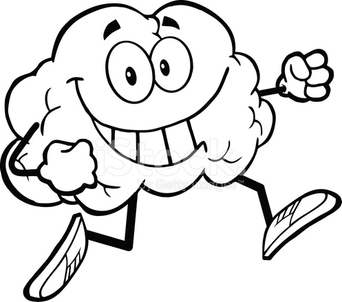 497x439 Black And White Healthy Brain Jogging Stock Vector