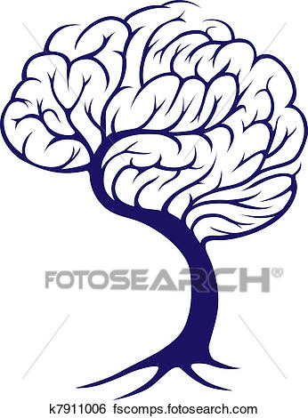 346x470 Clip Art Of Tree Brain K7911006