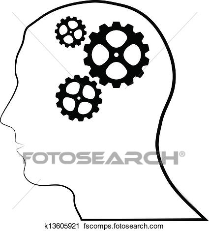425x470 Clipart Of Brain Of Gears Silhouette K13605921