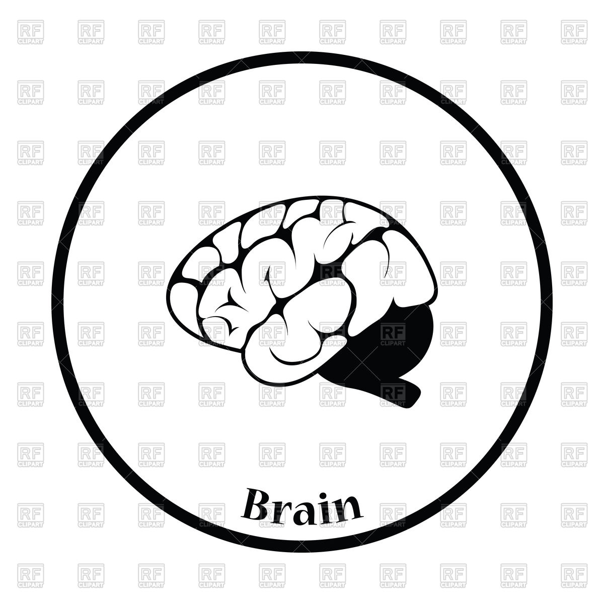 1200x1200 Thin Circle Design Of Brain Icon Royalty Free Vector Clip Art