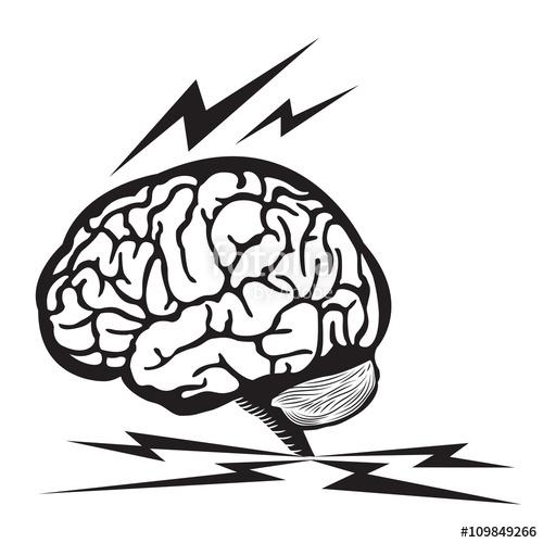 500x500 Brain Thunder Illustration Human Brain Outline Draw With Thunder
