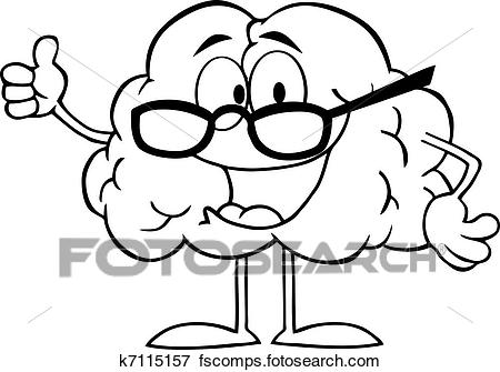 450x335 Clip Art Of Outlined Brain Cartoon Character K7115157