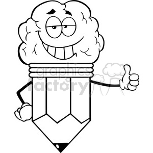 300x300 Royalty Free 5923 Royalty Free Clip Art Clever Pencil Cartoon
