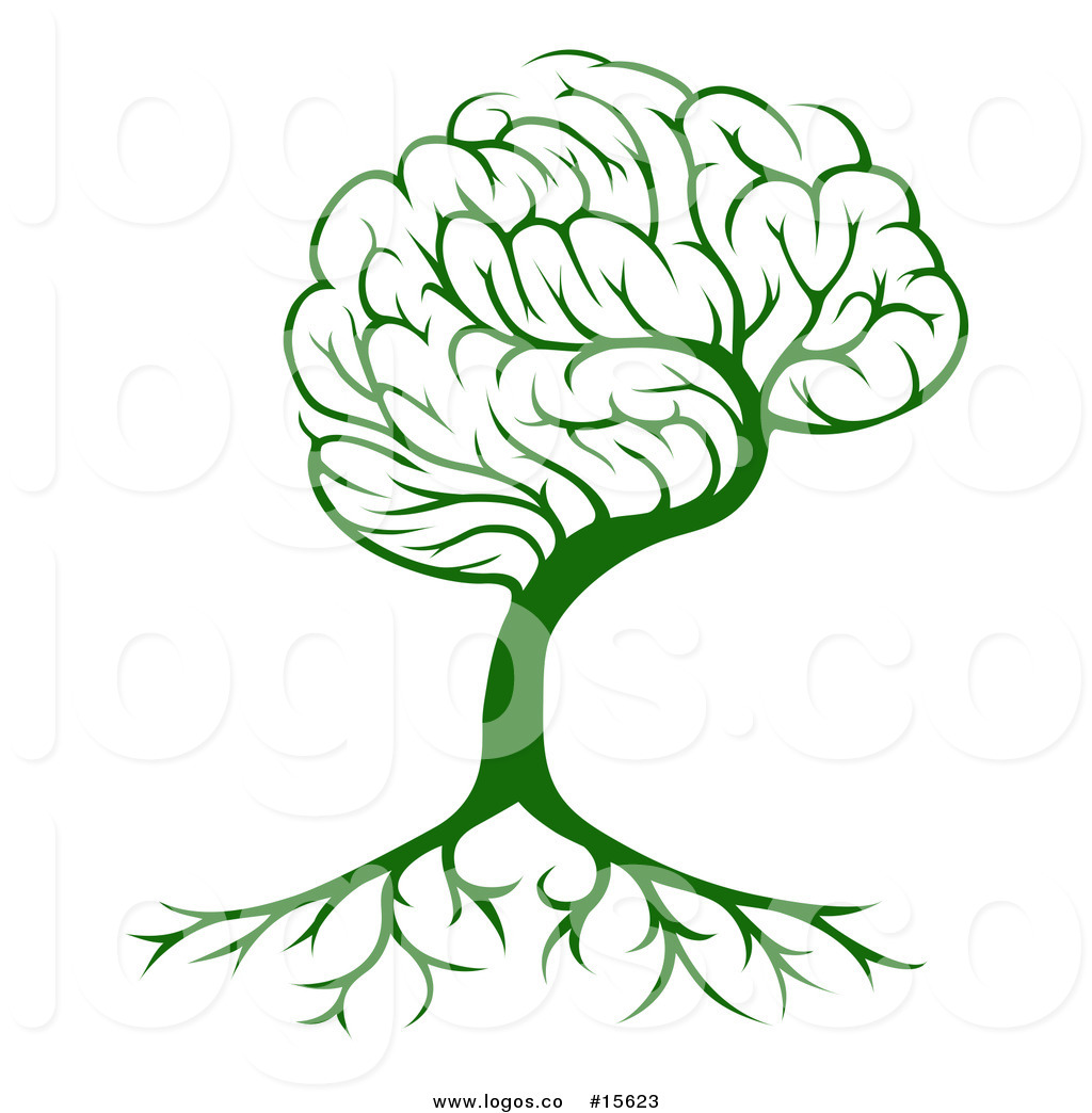 1024x1044 Royalty Free Vector Logo Of A Concept Brain Tree With Roots By