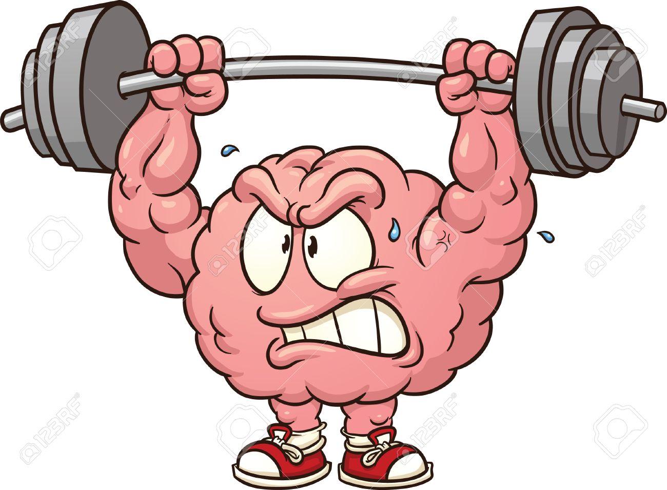 1300x955 Strong Weightlifting Brain Clip Art Vector Cartoon Illustration