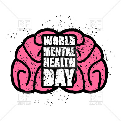 400x400 World Mental Health Day Emblem With Brain Royalty Free Vector Clip