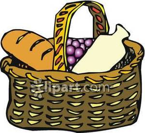 300x275 Basket Of Bread, Grapes And Milk Royalty Free Clipart Picture