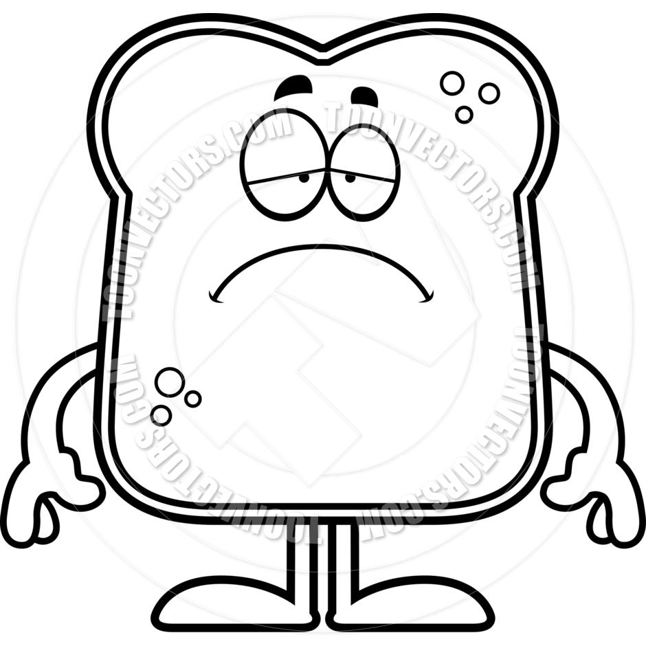 940x940 Sad Cartoon Bread (Black And White Line Art) By Cory Thoman Toon