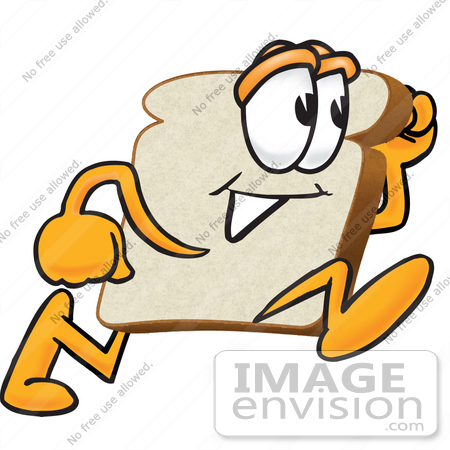 450x450 Clip Art Graphic Of A White Bread Slice Mascot Character Running