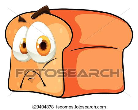 450x358 Clip Art Of Bread With Face On White K29404878