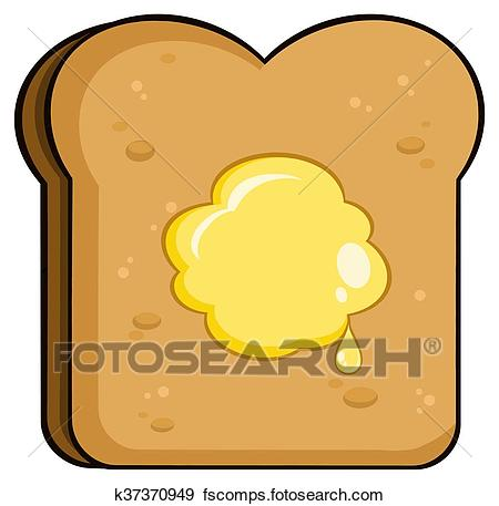 450x457 Clip Art Of Toast Bread Slice With Butter K37370949