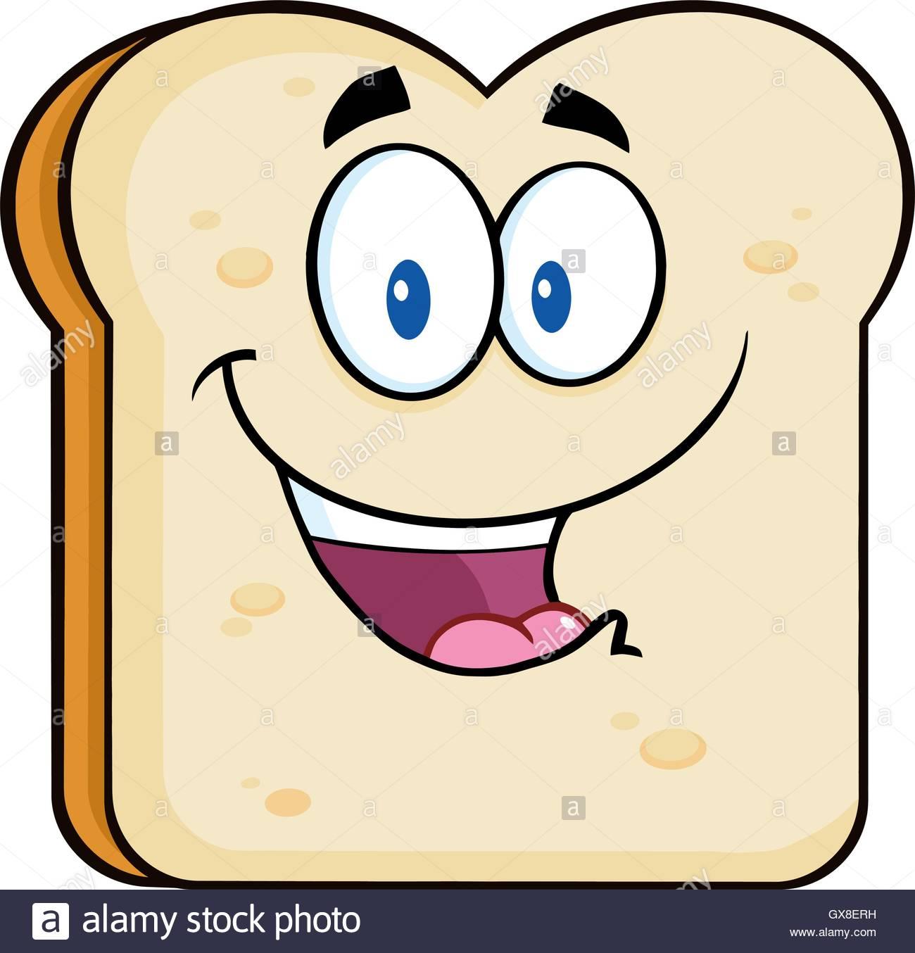 1300x1354 Happy Bread Slice Cartoon Character. Illustration Isolated