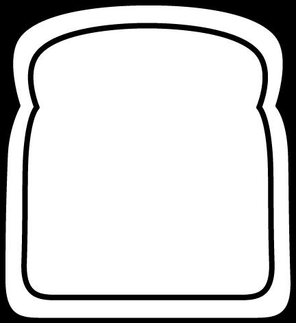 432x471 Black And White Black And White Big Slice Of Bread Clip Art