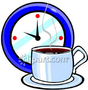 296x300 Clipart Picture Of A Clock And A Cup Of Coffee