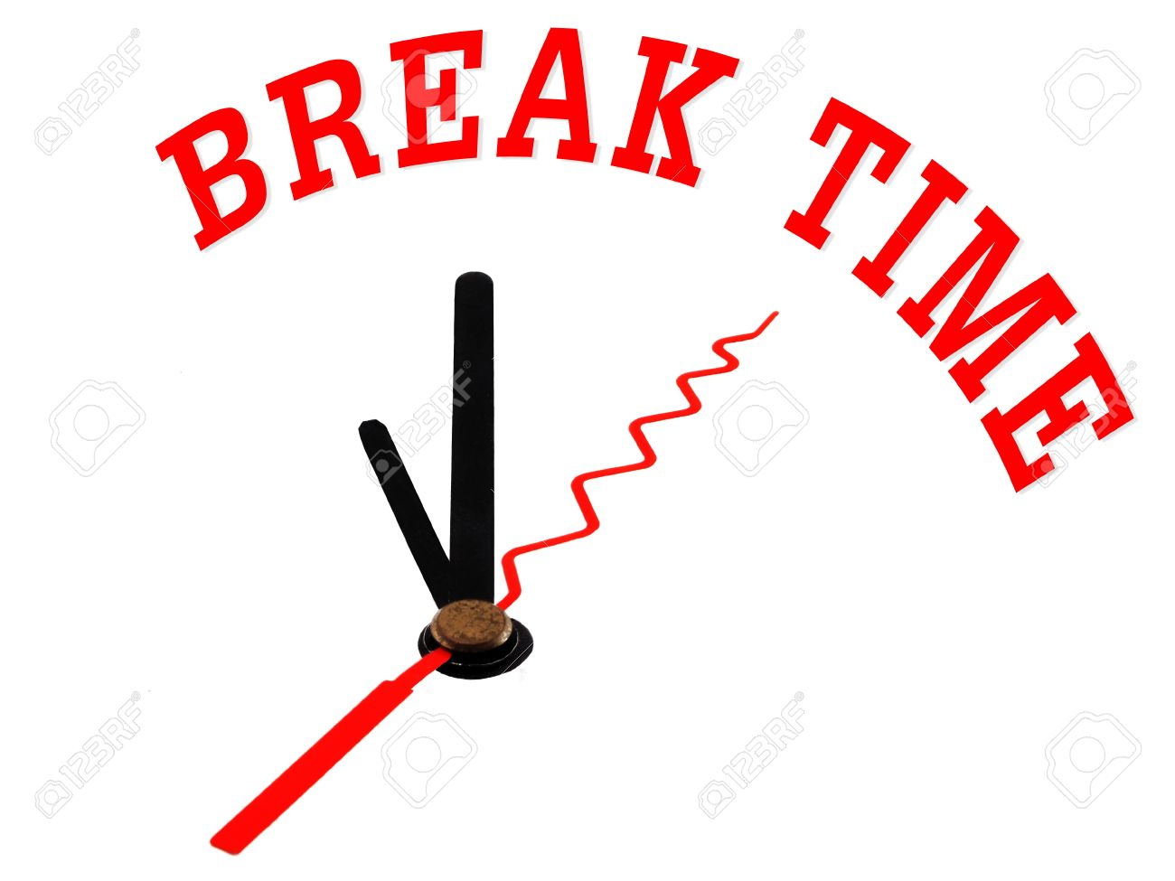 1300x975 Time Concept Clock Icon And Word Break Time Stock Photo, Picture