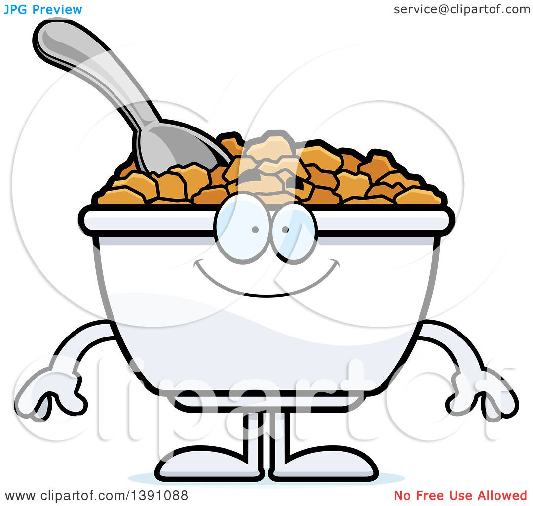 1080x1024 Clipart Of A Cartoon Happy Bowl Of Corn Flakes Breakfast Cereal