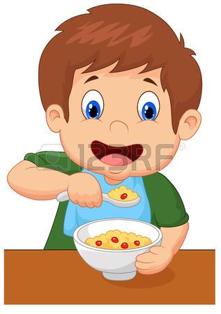317x450 Little Boy Having Breakfast Cereals With Milk Royalty Free