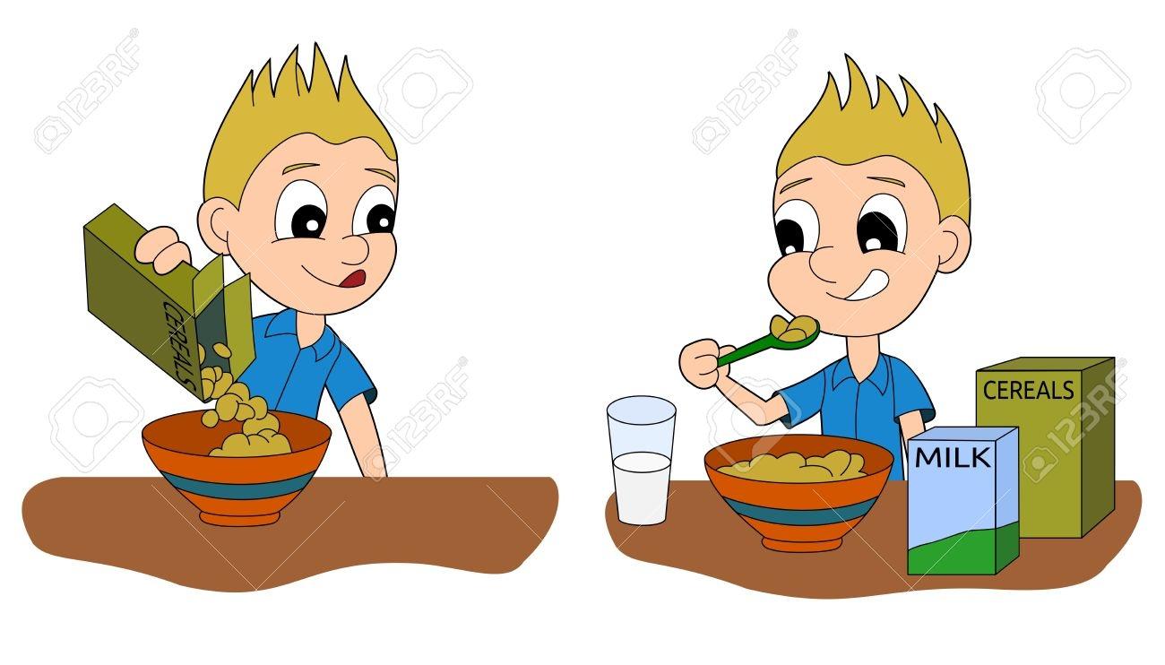 1300x742 Boy Eating Breakfast Clipart